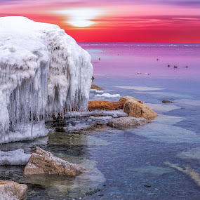 Fire & Ice by Ralph Sobanski - Landscapes Waterscapes ( water, sky, ice, sunset, lake, frozen )