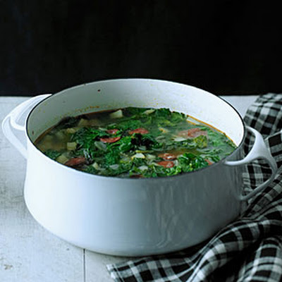 Red Russian Kale and Chorizo Soup (Caldo Verde)