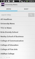 Screenshot of TCU Mobile