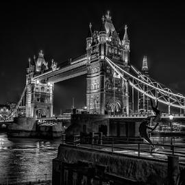 Tower Bridge London by Sheldon Anderson - Buildings & Architecture Bridges & Suspended Structures ( b&w, london, tower bridge, dramatic, night, bridge )