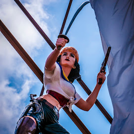 Ahoy! by Barry Blaisdell - City,  Street & Park  Amusement Parks ( swashbuckler, statue, woman, theme park, pirate )