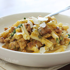 Pasta with Spicy Sausage, Baby Spinach and Creamy Butternut Sauce