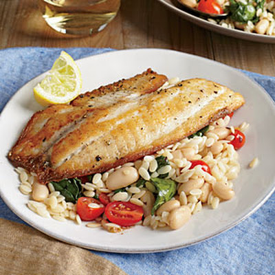 Seared Tilapia with Spinach and White Bean Orzo
