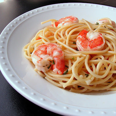 Spaghetti with Rosemary Shrimp Scampi