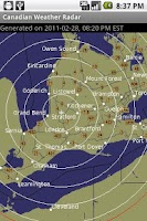 Screenshot of Canadian Weather Radar