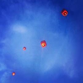 by Ashley Burgess - Wedding Details ( lanterns fire sky reception wedding )