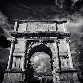 Arch of Titus, Rome by Peter Greenhalgh - Black & White Buildings & Architecture ( roma, arco di tito, forum romanum, rome, ruins, arch of titus, roman, italy )