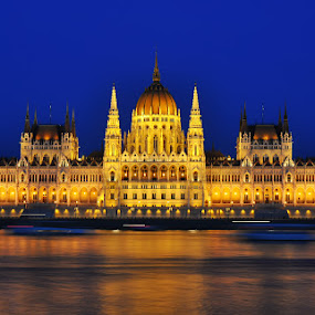 Blue Hour in Parliament - Budapest by Luigi Alloni - Buildings & Architecture Public & Historical ( budapest parliament bluehour reflections danube river building golden longexposure )