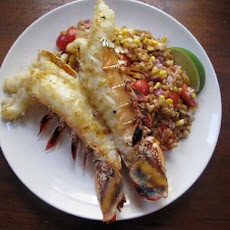 Sunday Supper: Grilled Lobster Tails with Warm Farro, Roasted Corn and Tomato Salad
