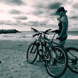 Beach by Costin Mugurel - Transportation Bicycles ( sand, waves, sunset, beach, bicycle )