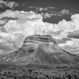 The Rock by Ross Brown - Landscapes Deserts ( clouds, desert, mountain, black and white, rock, landscape,  )