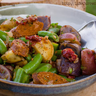 Spicy Sausage, Baby Potatoes, and Snap Peas
