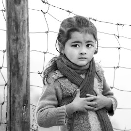 Me  And My Beautiful  Eyes by Roopam Ahmed - Babies & Children Child Portraits ( expression, girl child, blackandwhite, black and white, child portrait, candid, expressive, portrait, eyes, street photography )