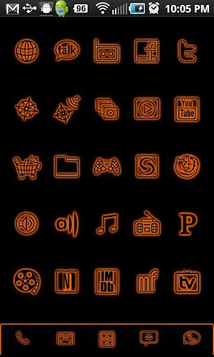 GloWorks Orange ADW Theme