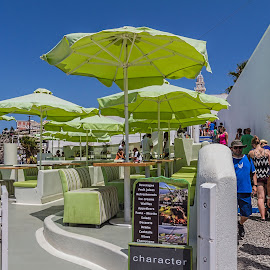 A place with shade by Vibeke Friis - City,  Street & Park  Neighborhoods ( green, sun umbrellas,  )