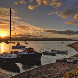 Exmouth Sunset by Paul Mirfin - Landscapes Sunsets & Sunrises ( sunset, boats, marina, beach, seaside, tidal, golden hour )