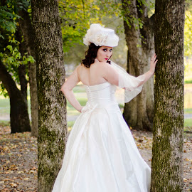 J.M. Bridal 1 by Amanda Hooks - Wedding Bride ( north carolina wedding, wedding photography, charlotte nc, beautiful, wedding dress, fall bridal, woods, charlotte wedding, fall wedding, bridal, wedding gown, wedding, woodland, north carolina bride, bride )