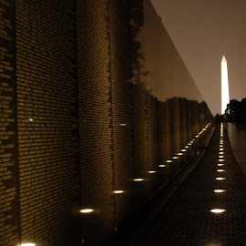 Vietnam Memorial at night by Tara Tarvin - Buildings & Architecture Statues & Monuments ( vietnam memorial, night shots, washington, memorial, night photography, washington monument, night time, washington dc, vietnam, nightscape )