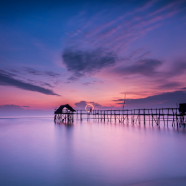 morning by Anton Subiyanto - Landscapes Beaches ( water, dawn, sunset, wave, long exposure, beach, sunrise, morning, landscapes, dusk, slow shutter )