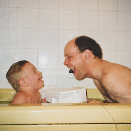 Aaron and I having fun in the bath. by Cory Bohnenkamp - People Family