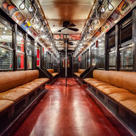 Antique NYC Subway Car by Kevin Case - Transportation Trains ( car, old, subway car, commuter, indoors, nyc, transportation, transit, passenger train, photography, city, railroad station platform, subway, seat, empty, train, mode of transport, subway train, despair, vehicle interior, hdr, tilt, loneliness, vehicle seat, old-fashioned, metro train, city life, subway station, railroad car, urban scene, coach bus, public transportation, kevin case, kevdia photography, new york city, underground, antique,  )