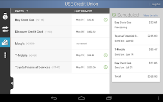 Screenshot of USE Credit Union Mobile