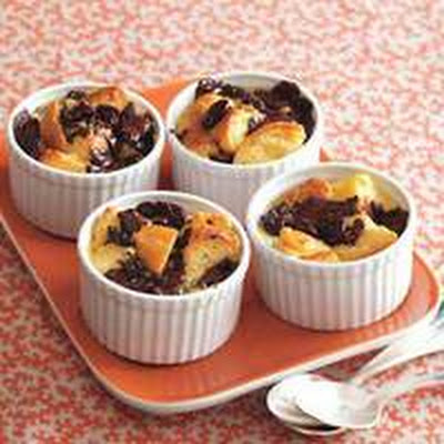 Dark Chocolate-Cherry Biscuit Bread Pudding
