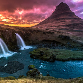 Heartbeat by Daniel Herr - Landscapes Mountains & Hills ( canon, icelandic, kirkjufell, iceland, colors, reflections, kirkjufellfoss, midnight sun )
