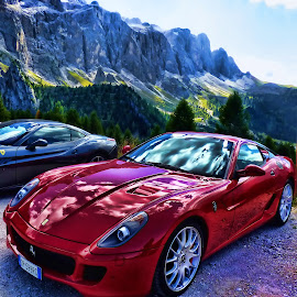 The Beauty and the Mountain by Stefano Landenna - Transportation Automobiles ( car, red, alta badia, ferrari, dolomites, italy )