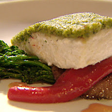 Brioche and Pesto Crusted Halibut with Portobello Caps, Broccoli, Creamed Fennel and Sun-Dried Tomato Beurre Blanc