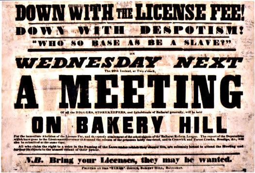 "A copy of this inflammatory poster, produced by Seekamp's press, was seized by police and used as evidence in Seekamp's trial. The last phrase, 'Bring you licenses, they may be wanted' was viewed as especially suspicious. <a href=""http://wiki.prov.vic.gov.au/index.php/Eureka_Stockade:Depositions_taken_against_Donald_Campbell_for_Breach_of_the_Peace_charge/Gravel_Pits_Riot"">Click here to see more of this record n our wiki</a>"