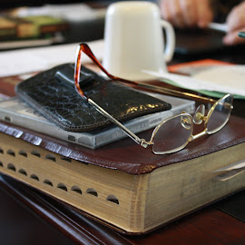 Study time by Mark  R.  Worden - Artistic Objects Education Objects ( books, glasses, study, bible, desk )