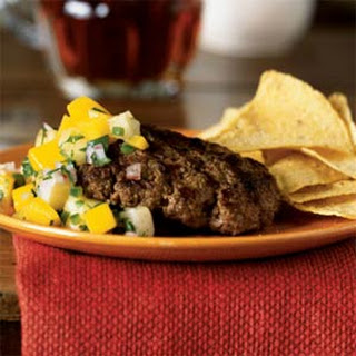 Jerk-Seasoned Buffalo Hamburger Steak with Mango-Pineapple Salsa