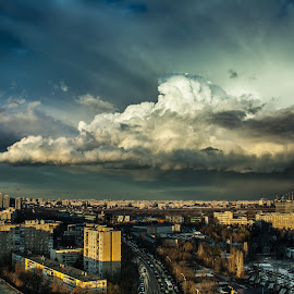 Bucharest Supercell by Matei Iulian - City,  Street & Park  Skylines ( amazing, cityscapes, clouds, december, bucharest, sunset, romania, supercell, storm,  )