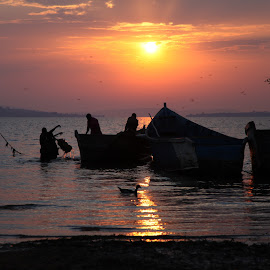 The Daily Catch by Jason Ebeyer - Novices Only Landscapes ( sunset, boats, fishing, africa )