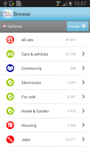 eBay Classifieds Android App Screenshot