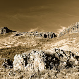 Timeless formations by Jp Bergeron - Landscapes Mountains & Hills ( geology, sepia, mountain, landscape, rocks )