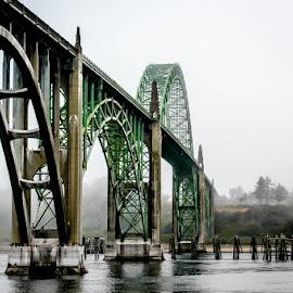 Yaquina Bay Bridge by MiMi Paris - Buildings & Architecture Bridges & Suspended Structures ( yaquina, oregon, pacific coast, newport, bridges )