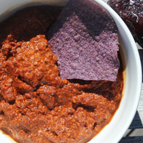 Ancho-Chipotle Salsa with Chocolate and Fried Almonds