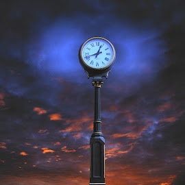 12:42 Clockscape by Richard Skoropat - Artistic Objects Still Life ( clouds, clock, sunset, art, landscape, object )