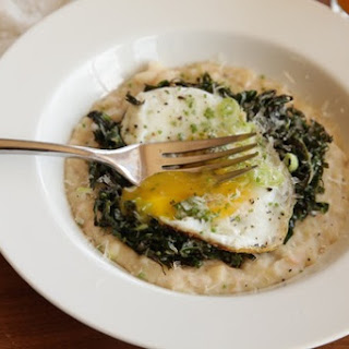 Cheesy Mashed White Beans With Kale, Parmesan, and a Fried Egg