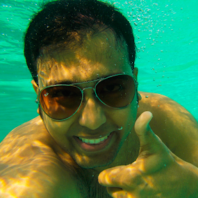Underwater Smile by DrArindam Ghosh - People Portraits of Men ( marine, underwater smile, coral, aquatic, underwater, sea, aqua, smile )