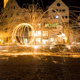 gyro by John  Truckenbrodt - Abstract Light Painting ( jena, steel wool, lightpainting, germany, fire )