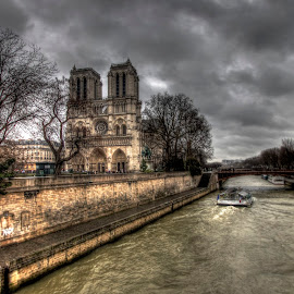 Notre Dame 2 by Ben Hodges - City,  Street & Park  Historic Districts ( paris, hdr, notre dame, park, france, travel, rain, river )