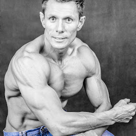 tint of blue by Aretha De Jager Botha - Sports & Fitness Fitness ( weights, blue, male, bodybuilding, gym, men,  )
