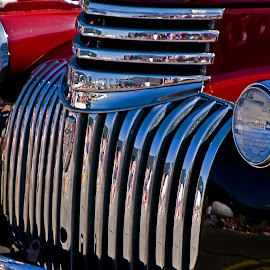 Red, Chrome, and Blue by Jonathan Wheeler - Transportation Automobiles ( red, vintage cars, chrome, white and blue, reflections, parades )