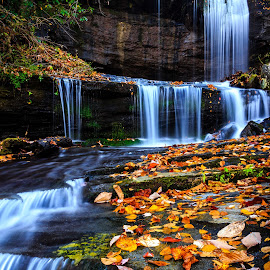 Grassy Creek Falls by Naresh Balaguru - Landscapes Waterscapes ( autumn, waterfalls fall colors, landscape )