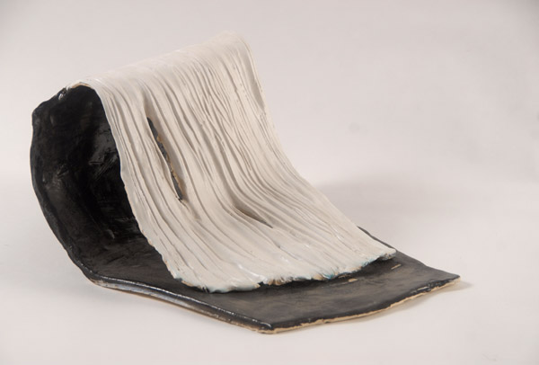 Standing Waterfall #1 <br> Stoneware, high fired with glaze <br> 7 x 11 x 10 in