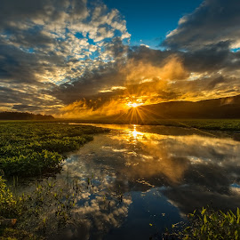 Basha Kill Sunrise by Gerald Berliner - Landscapes Sunsets & Sunrises ( clouds, water, sky, dawn, lake, sunrise )