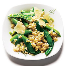 Israeli Couscous and Dill Snap Peas